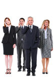 Businessmen and businesswomen with mobile royalty free stock images
