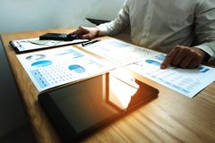Businessmen calculate earnigs business performance, business con royalty free stock photos