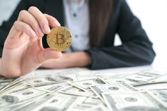 Businessmen carry a bit of coin as part of a business network. royalty free stock photo