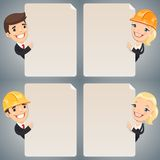 Businessmen Cartoon Characters Looking at Blank Poster Set Stock Image