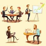 Businessmen Cartoon Icons Set. With profit symbols on yellow background isolated vector illustration Stock Photo