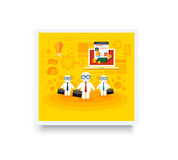 Businessmen with cases go on a meeting Royalty Free Stock Photo