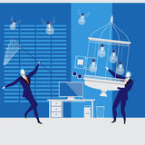 Businessmen catching idea bulbs, vector illustration Stock Photo