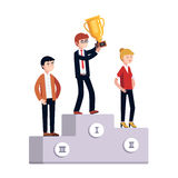 Businessmen celebrating business achievement. Businessman and woman standing on a three place winner podium celebrating business achievement holding golden prize Royalty Free Stock Photos