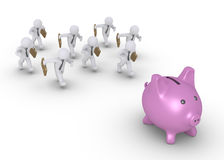 Businessmen chasing pig money box Stock Images