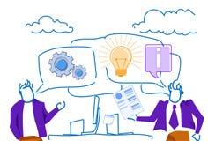 Businessmen chat bubble communication workplace brainstorming new idea innovation concept sketch doodle horizontal. Vector illustration vector illustration