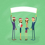 Businessmen Christmas Santa Hat Show White Board Stock Photography