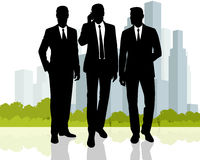 Businessmen at city background Royalty Free Stock Images