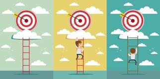 Businessmen climbed the ladder. Hitting bigger business target. vector illustration