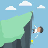 Businessmen climbing. To harvest ideas tree. Concept of difficulty of finding ideas. cartoon concept Stock Image