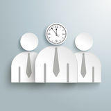 3 Businessmen Clock. 3 businessmen with a clock on the gray background Stock Photos