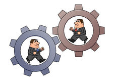 Businessmen in cogwheel machine 2 Stock Photography