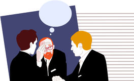 Businessmen colleagues discussion. The vector illustration of three businessmen in office Stock Image