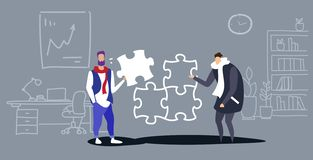 Businessmen colleagues putting parts of puzzle together problem solution teamwork concept business people coworking stock illustration