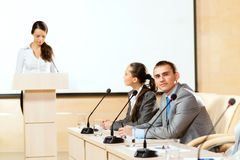 Businessmen communicate at the conference Royalty Free Stock Photo