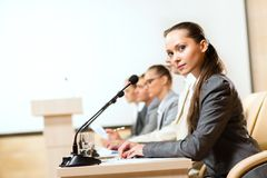 Businessmen communicate at the conference Stock Photography