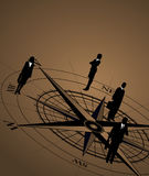 Businessmen on Compass. Abstract background with businessmen and compass Royalty Free Stock Photos