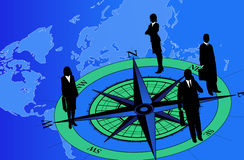 Businessmen on Compass. Abstract background with businessmen and compass Royalty Free Stock Image