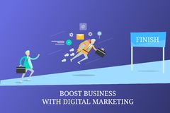 Businessmen competing with each other, boost online business with digital marketing concept. vector illustration