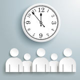 Businessmen Conference Big Clock. Infographic design with businessmen and a clock on the gray background Royalty Free Stock Image