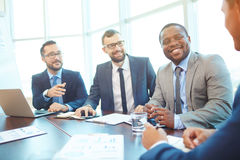 Businessmen at conference Royalty Free Stock Photos