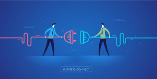 Businessmen connect connectors. Royalty Free Stock Photos