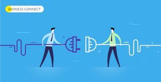 Businessmen connect connectors. Cooperation interaction. Vector illustration Eps 10 file. Success, Cooperation Royalty Free Stock Photography