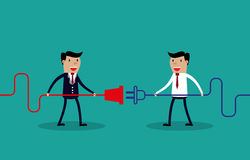 Businessmen connect connectors. Cooperation interaction. Vector illustration  Success, Cooperation Royalty Free Stock Photo