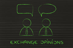 Businessmen conversation dialogue, exchange opinions Royalty Free Stock Photos