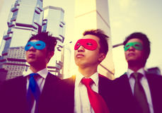 Businessmen Corporate Superhero City Concept Stock Images