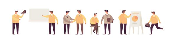 Businessmen in different business situations on white background. stock illustration