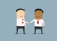 Businessmen of different ethnicities shaking hands. Cartoon businessmen of different ethnicities shaking hands as a symbol of friendship and partnership Stock Photography