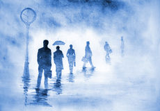 Businessmen with diplomats. Businessmen in the fog hurrying to work Royalty Free Stock Image