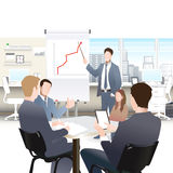 Businessmen discuss sales growth in the office chart Businessman shows on board plot Group employees at work Stock Photo