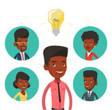 Businessmen discussing business ideas. Businessmen working at business ideas. Businessmen discussing business idea. Group of business people connected by one Royalty Free Stock Photo
