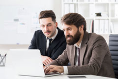 Businessmen discussing project on laptop Stock Photos