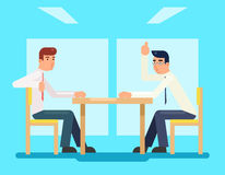 Businessmen discussing strategy flat design characters vector illustration Royalty Free Stock Image