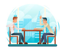 Businessmen discussing strategy flat design characters window city background vector illustration Stock Photo