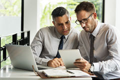 Businessmen Discussion Technology Outdoors Concept royalty free stock photos
