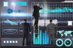 businessmen are drawing against digital graphics background stock image