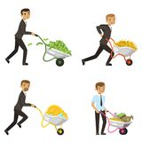 Businessmen driving a wheelbarrow with money. Man with investment cash, character wealth, vector illustration Stock Image