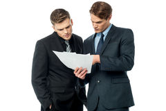 Businessmen evaluating deal documents. Serious business executives checking documents Royalty Free Stock Photo
