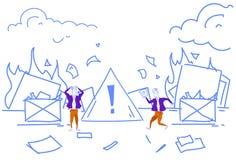 Businessmen extinguishing fire workplace office privacy documents burn destruction of evidence concept attention danger. Warning sign horizontal sketch doodle vector illustration