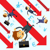 Businessmen Fall Down Financial Graph Red Chart. Arrow Crisis Concept Flat Vector Illustration Royalty Free Stock Photo