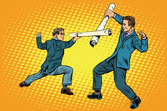 Businessmen fencing competition ideas Stock Photo