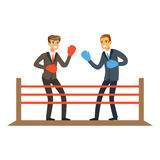 Businessmen fighting on boxing ring, business competition vector Illustration. Isolated on a white background Stock Image
