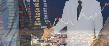 Businessmen succeed in the stock market and technology. Stock Photos