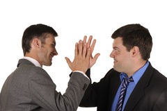 Businessmen find out emotionally attitudes Stock Photo