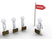 Businessmen find the way to success. 3d businessmen go to the way of success sign Royalty Free Stock Photography