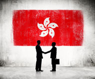 Businessmen With FLag Of Hong Kong Stock Images